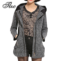 New Korea Style Lady Winter Woolen Jackets Plus Size L-4XL Women Hooded Blend Coats Zipper Up Female Fashion Warm Outerwear