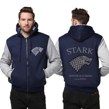 Practical Thicken Cold Proof Hoodie Zipper Coat Game of Thrones Direwolf Ghost House of Stark Jacket Sweatshirts MEN WOMEN Top