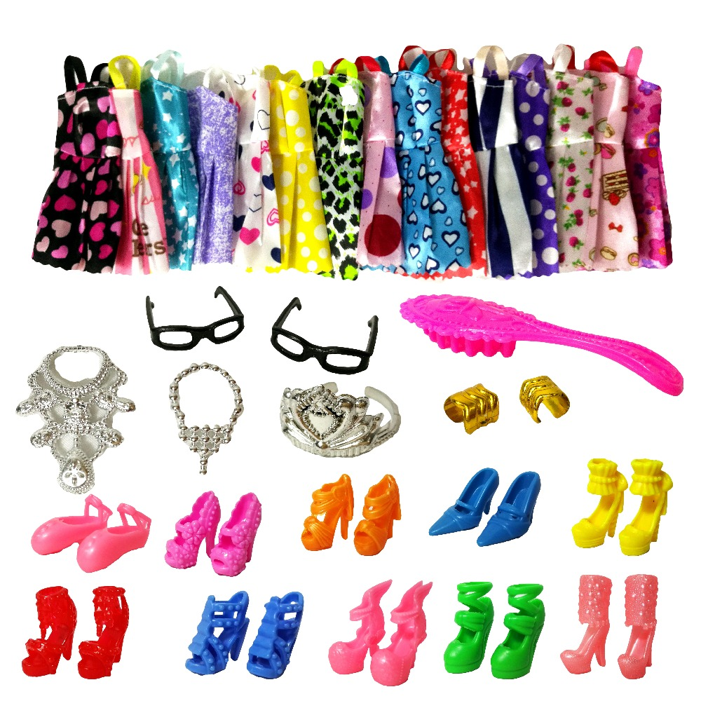 27 Item/Pcs=12 Pcs Beautiful Party Barbie Clothes Fashion Dress+7 Plastic Necklace+8 Pair Shoes For Barbie Doll Accessories random 12 pcs mixed sorts barbie doll fashion clothes beautiful handmade doll party dress for barbie dolls girl gift kid s toy
