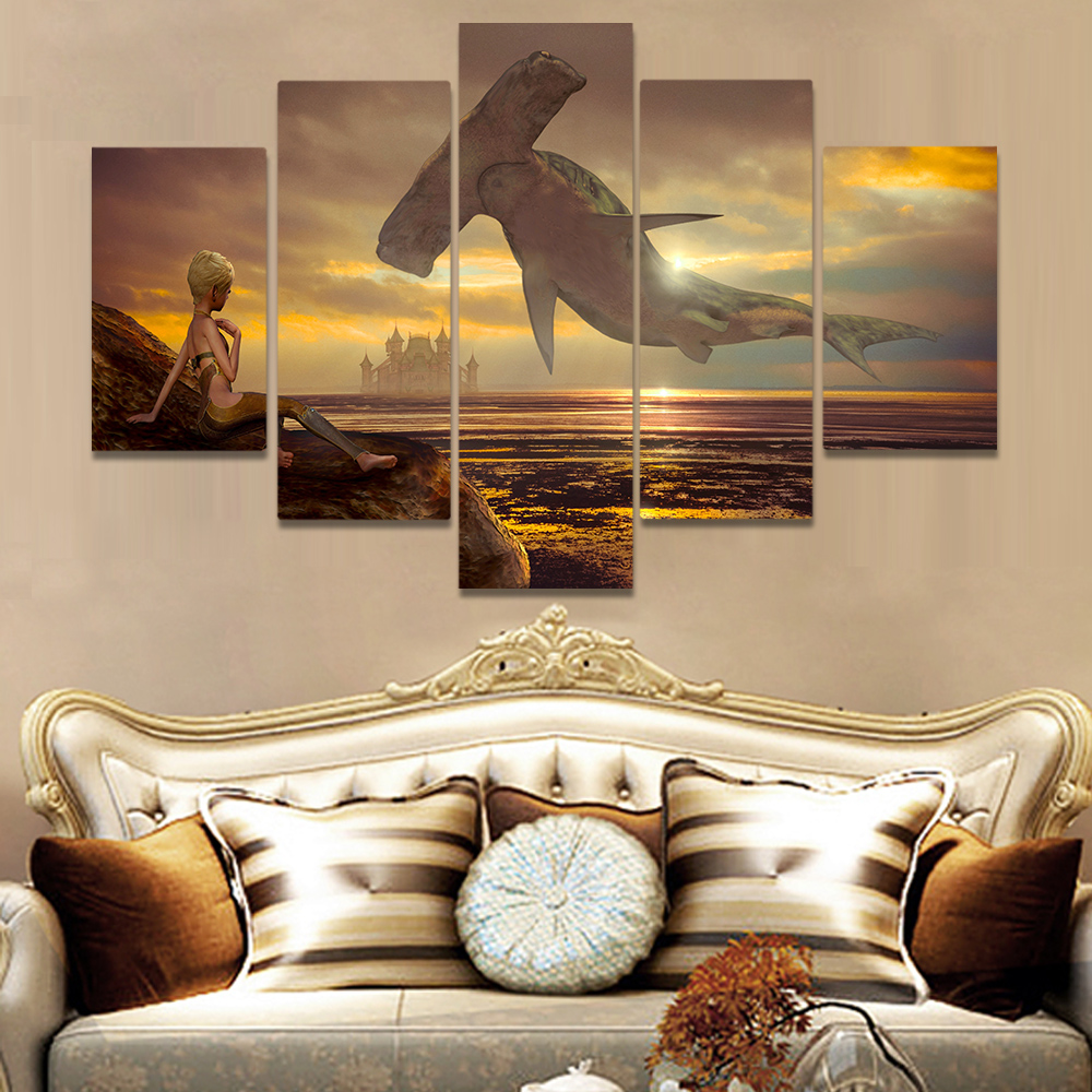 Unframed Canvas Art Painting A Darkened Sky Sphyrna Little Boy Picture Prints Wall Picture For Living Room Wall Art Decoration