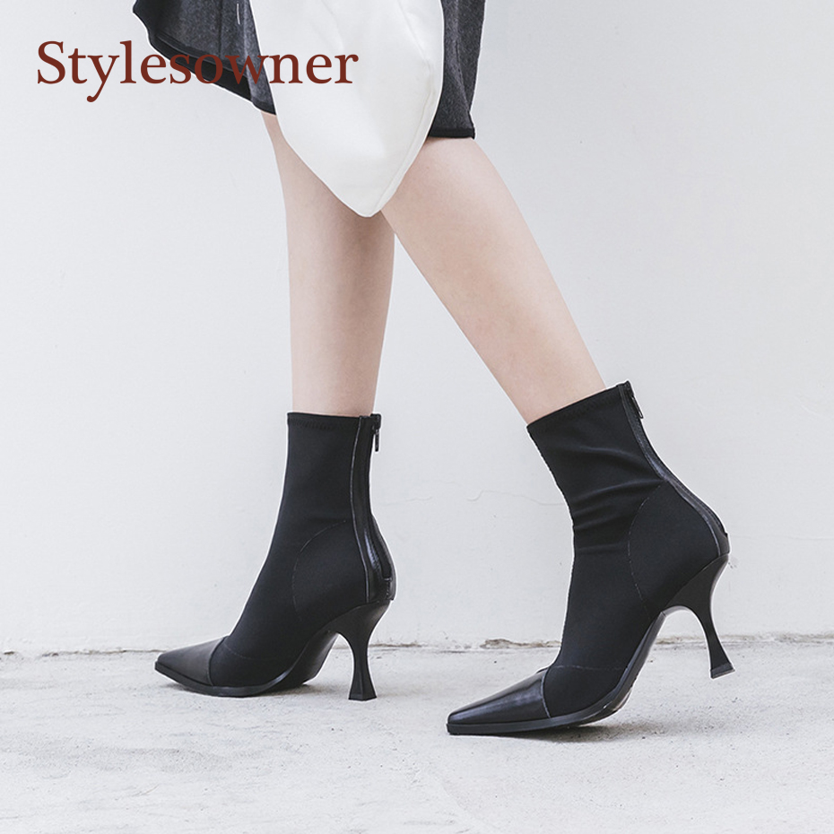 Stylesowner 2018 Sock Boots Color Match Elegant Sqaured Toe Ankle Bootie Slip On Knitten Heel Women Pumps Stiletto Bota Feminino