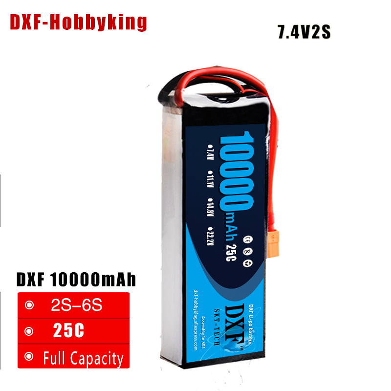 2017 DXF Power Li-polymer Lipo Battery 2S 7.4V 10000mah 25C Max 50C For Helicopter RC Model Quadcopter Airplane Drone 2pcs li polymer lipo battery 7 4v 300mah 30c for wltoys f959 rc airplane helicopter quadcopter drone spare toy parts
