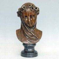 Нежный бронзовые скульптуры завуалированной женщина бюст статуя украшение дома коллекция произведений искусства