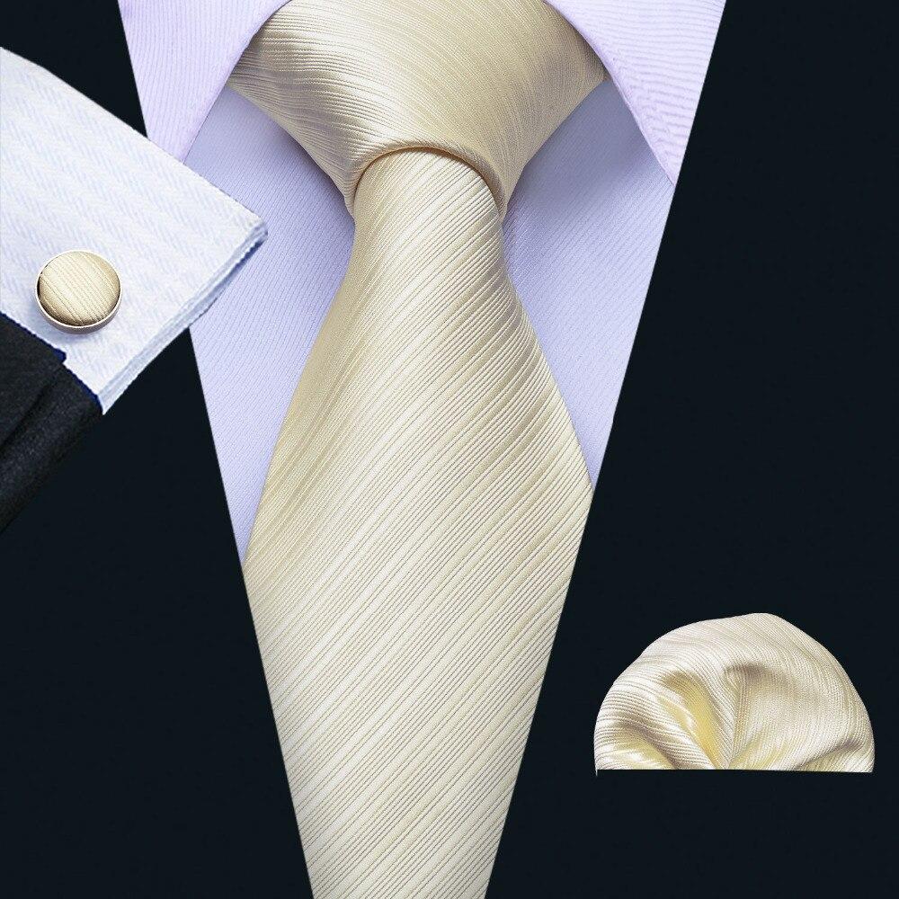 Factory Luxury Men's 100% Silk Tie Set Ties Handkerchief Cufflinks Milky Solid Pocket Square Necktie Wedding Hanky Neck tie