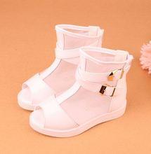 2016 printemps / été bottes enfant sandales filles enfants princesse chaussures parti unique chaussures réseau à bout ouvert en cuir bébé chaussures
