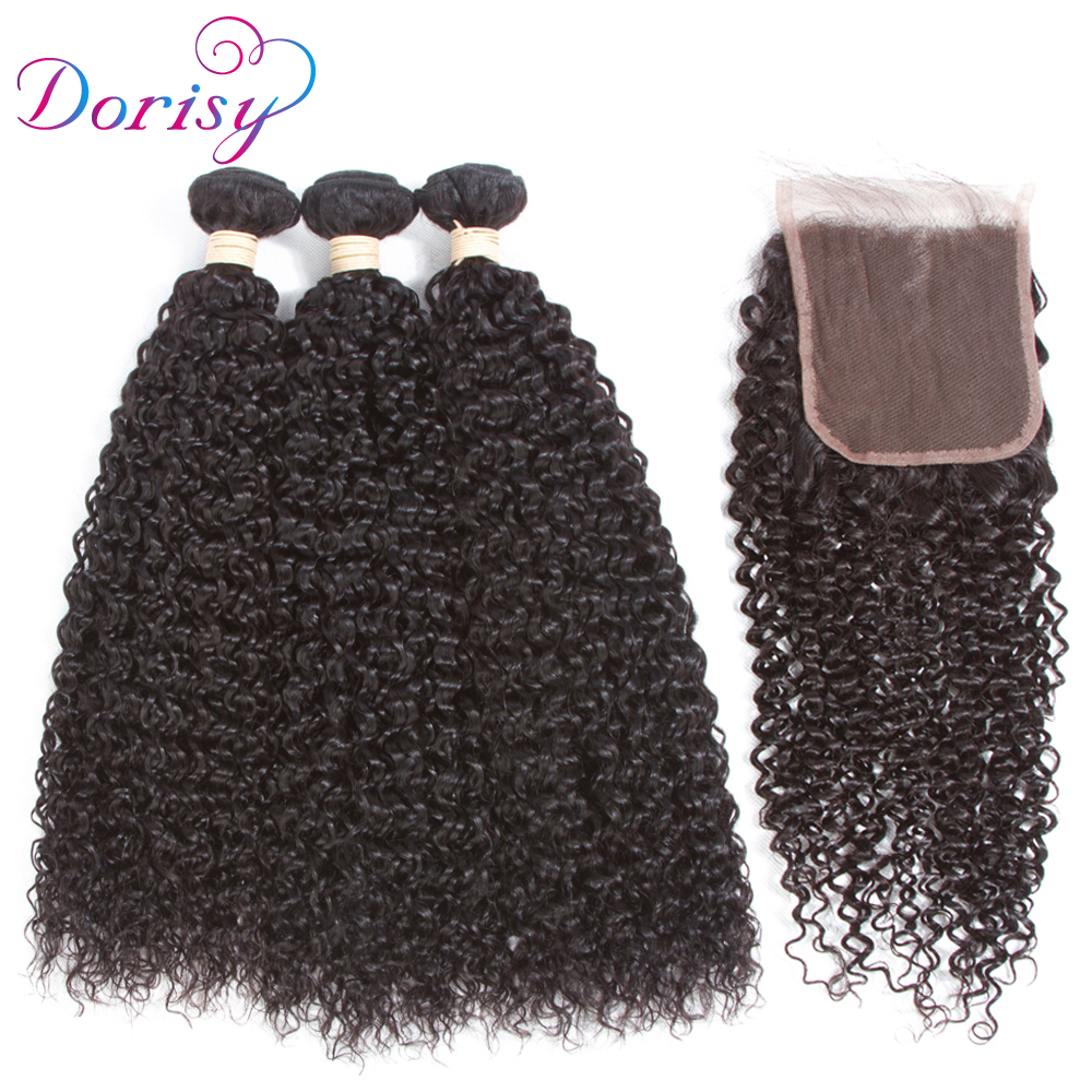 Dorisy Hair Weaving Peruvian Curly Hair Bundles with Closure 10-24 inch 100% Non-Remy Human Hair Extensions Closure