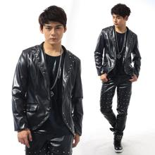 Personality rivets blazer males newest coat designs males swimsuit costume males's bike leather-based jackets persona stage singer