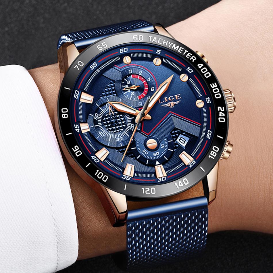 LIGE azul Casual malla Correa moda cuarzo oro reloj para hombre relojes marca superior reloj impermeable de lujo 13