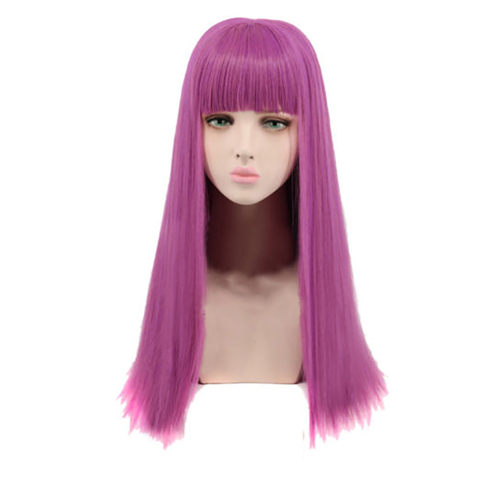 SALE Breathable Women's Girl Purple Wig Long Straight Synthetic Hair Full Wigs Cosplay Natural Hair Wig Gift Dropshipping