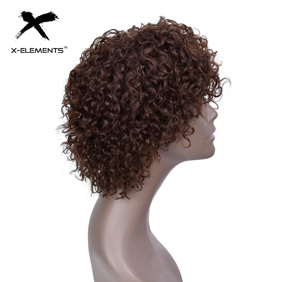 X-Element Brazilian Curly Short Human Hair Wigs with Baby Hair Non-Remy Machine Made Human Hair Wigs For Women H.ORA 6.75 Inches (7)
