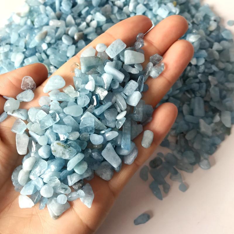 1 kg en gros pierre naturelle bleu ciel aigue-marine Quartz brut pierre précieuse cristal minéral spécimen roche puce gravier décoration - 3