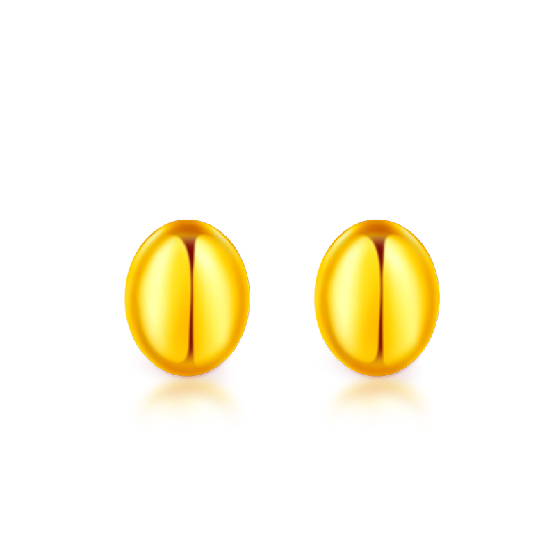 все цены на Solid 24K Yellow Gold Earrings Women 999 Gold Smooth Oval Stud Earrings 1.25g онлайн