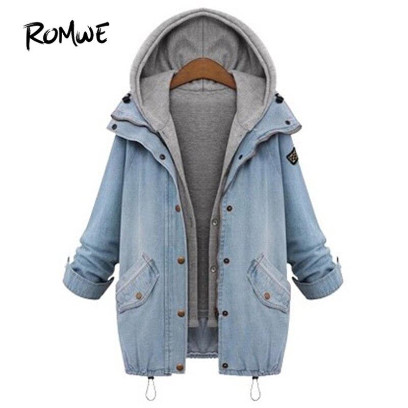 ROMWE Hooded Drawstring Boyfriend Trends Jean Swish Pockets Two Piece Coat 2018 Blue Long Sleeve Single Breasted Denim Jacket