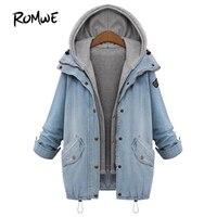Romwe encapuchado drawstring novio tendencias Jean Swish bolsillos dos piezas 2018 azul manga larga solo breasted chaqueta denim