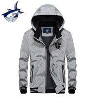 New Casual Hooded Jacket Men Original Brand Tace Shark Jaqueta Masculina Stand Collar Embroidery Thermal Fleece