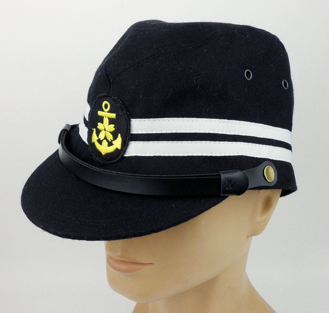 5dabc9d9608 WWII JAPANESE NAVAL MILITARY HAT WW2 JAPANESE OFFICER NAVY HAT CAP -SIZE M