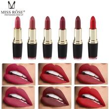 Hot Sale Miss Rose 6 color Matte Cosmetic Lipstick Waterproof Long Lasting Pigment Velvet Sexy Lip Lipsticks Beauty Tool