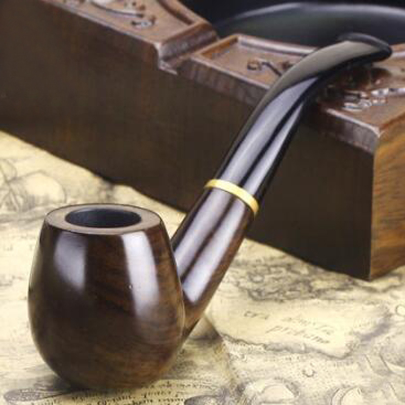 High Quality 1 Pieces Fashion Style Ebony Nature Handmade Wood Tobacco Smoking Wooden Pipe Bent Round Gift Pipes