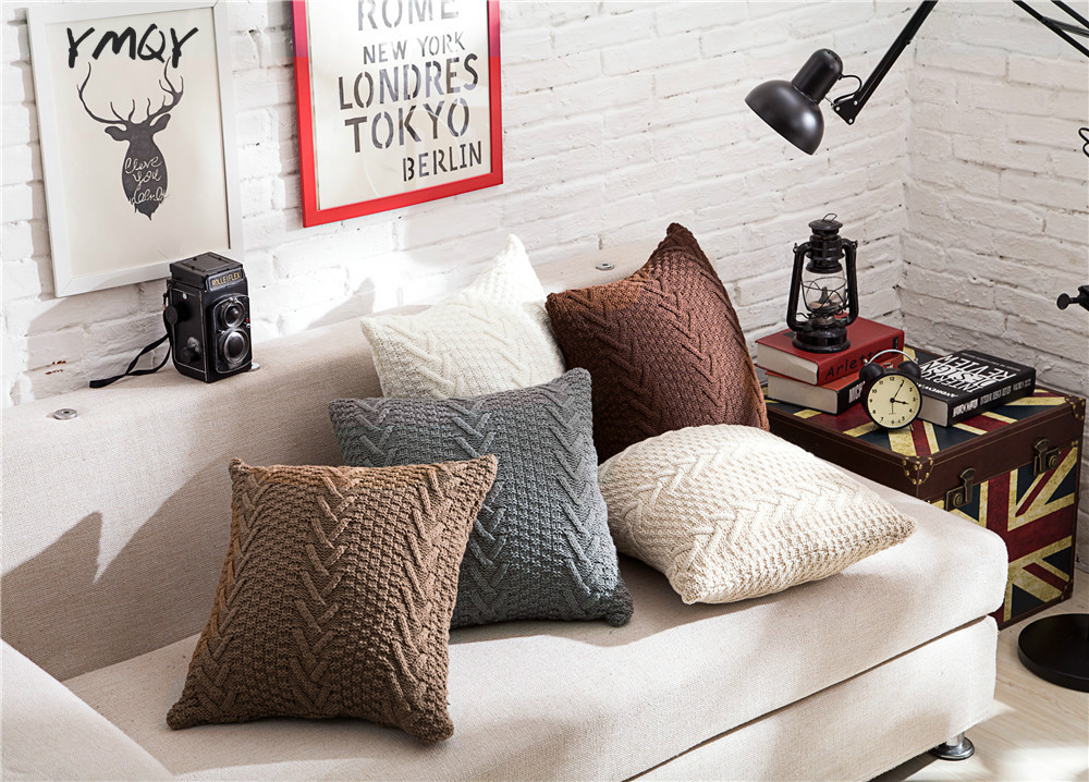 Knitted cushion nordic knitted pillow cable knit cushion for Cojines sofa exterior