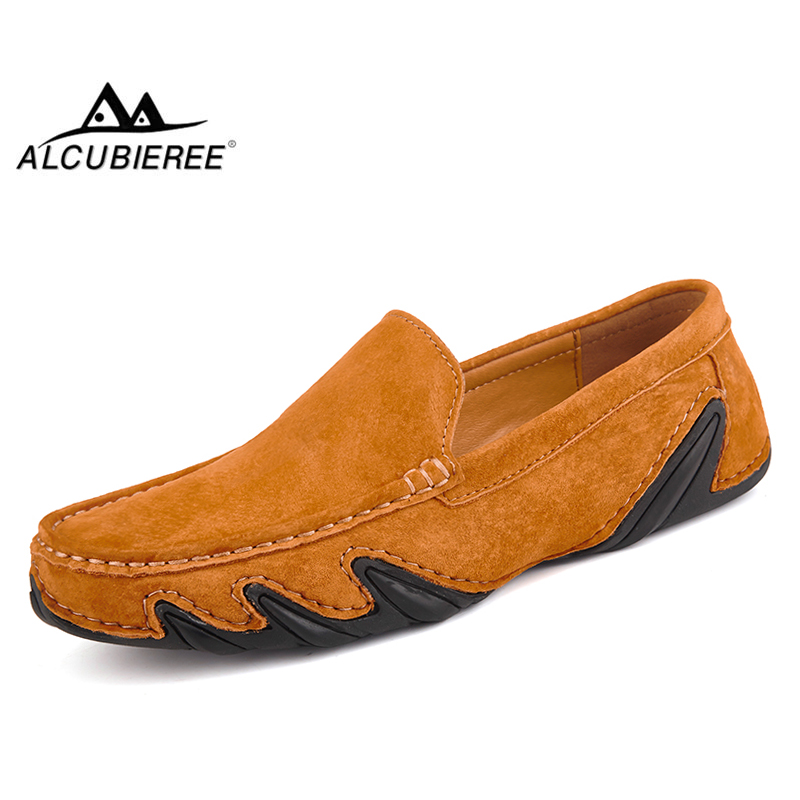 ALCUBIEREE Winter Driving Moccasin Shoes for Men Slip-on Loafers with Fur Mens Casual   Suede     Leather   Warm Boat Shoes Big Size 47