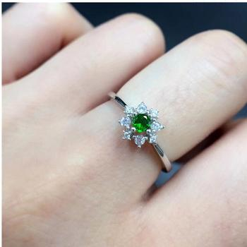 Natural Diopside ring Free shipping Natural green diopside 925 sterling silver Fine jewelry ring For men or women 3mm