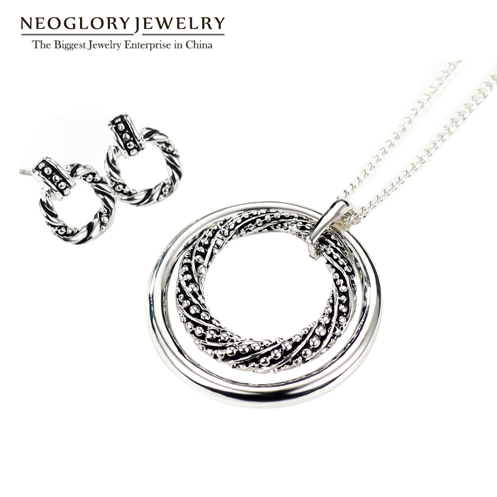 Neoglory Earrings Necklaces Jewelry-Sets Charm Birthday-Gifts Christmas Silver-Plated
