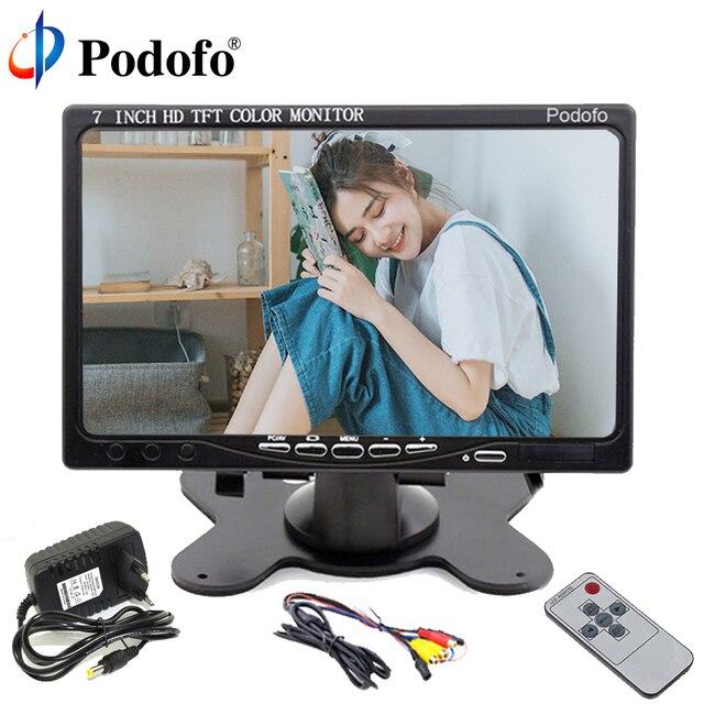 """Podofo компьютер и ТВ дисплей CC ТВ видеонаблюдения 7 """"ЖК дисплей экран заднего вида Мониторы, HDMI/VGA/видео/аудио DC 12 В"""