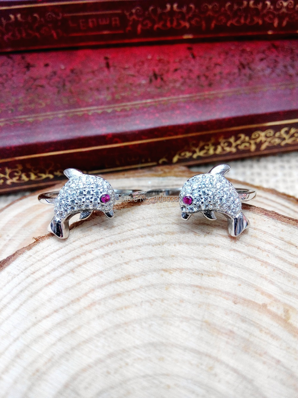 Fashion s925 sterling silver jewelry ring dolphin wedding couple Ring - True Love Jewelry Factory store