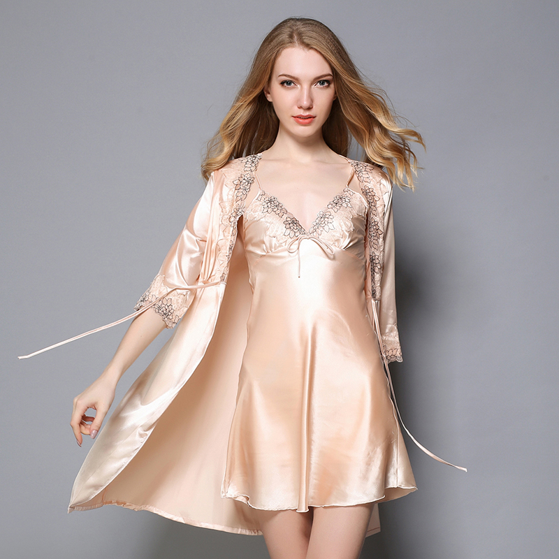 Champagne Satin Female Lingerie Twinset Rob Lace V-Neck Sleepwear Casual Flower Nightgown Soft Mini Negligee Nightdress M L XL