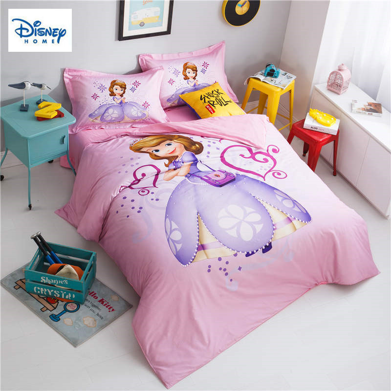 Pink Sofia Princess Comforter bedding sets for kids bedroom decor twin size duvet cover queen bed sheet cotton bedclothes girlsPink Sofia Princess Comforter bedding sets for kids bedroom decor twin size duvet cover queen bed sheet cotton bedclothes girls