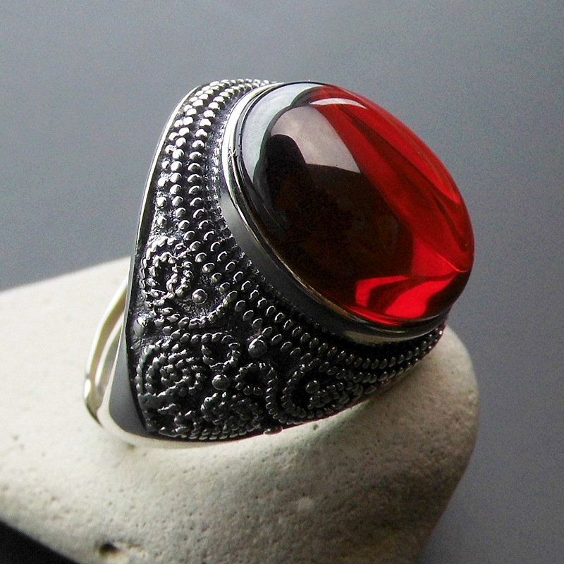 925 Sterling SILVER BẠC nhẫn garnet mở vòng đá quý New Lady thực phẩm bầu không khí cường điệu