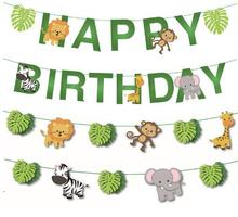 Happy Birthday Decorations Kids Banner Safari Jungle Party Animal Baby Shower Cartoon Favors Decoration