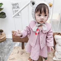 Kids Set 2019 Spring Toddler Girls Clothing Sets Long Sleeve Grid Embroidery Coat +Dress 2pc Party Princess Outfit 1 5Years