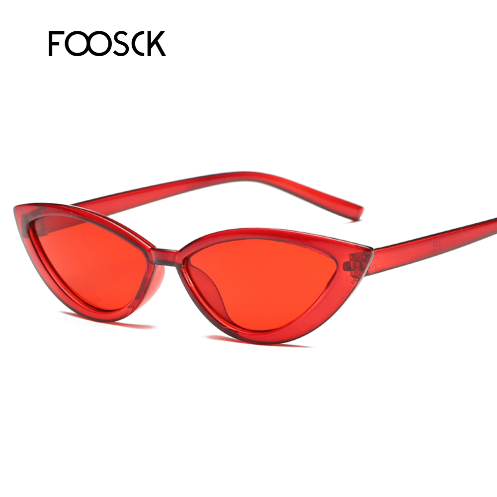 FOOSCK New Small Ladies Sexy Cat Eye Sunglasses Women Fashion Brand Vintage Retro Sun Glasses UV400 Gafas Oculos De Sol Feminino