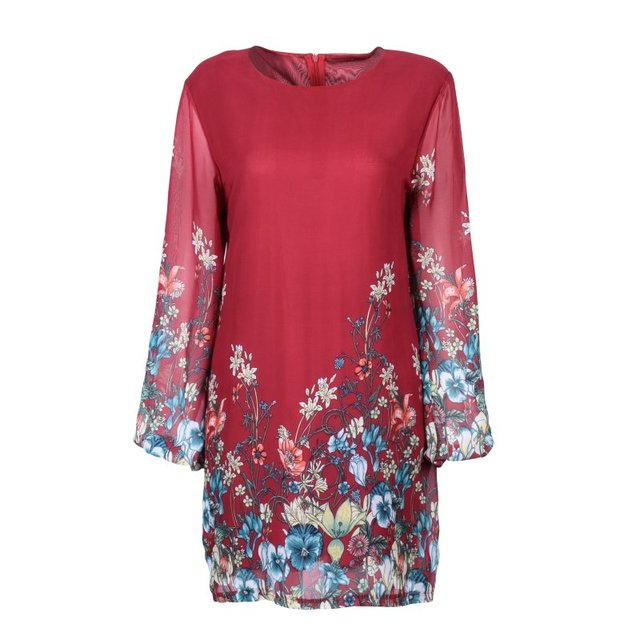 Floral Printed Dress Autumn Casual Women Flowers Pattern Dresses Long Sleeve  O-neck Dress Ladies Party Clothing Y7 a386dada7