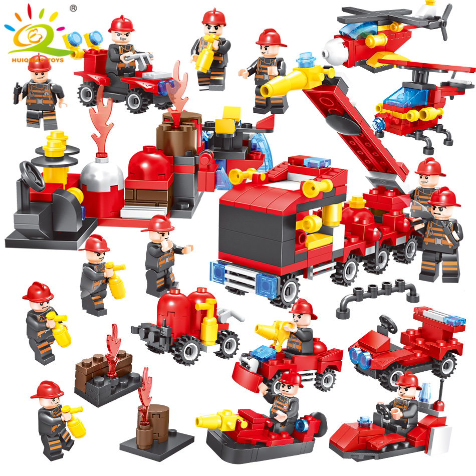 376pcs 8in1 Fire truck Firefighter City rescue Helicopter Building Blocks Compatible Legoed city Educational Bricks children Toy black city black city fire
