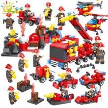 376 шт. 8в1 пожарная машина пожарный город спасательный вертолет строительные блоки Совместимые Legoed город развивающие Кирпичи Детские игрушки