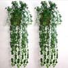 12PCS Artificial Plants Green Grape Vine Green Leaves Fake Plant Plastic Simulation Flowers Vines For Courtyard