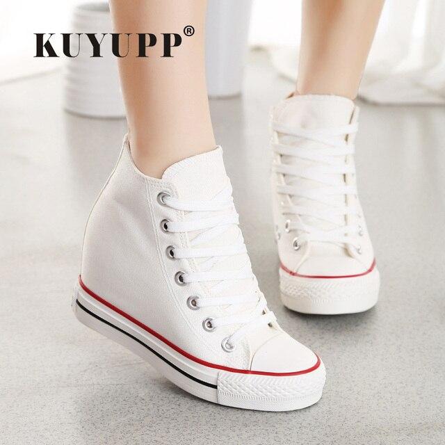 KUYUPP Superstar Высокий Верх Холст Женская Обувь Эспадрильи Весна Осень женские Клинья Обувь Зашнуровать Повседневная Обувь Sapatilha YD120