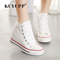 KUYUPP Superstar High Top Sapatos Cunhas das Mulheres Sapatas de lona Alpercatas Mulheres Primavera Outono Rendas Até Sapatos Casuais Sapatilha YD120