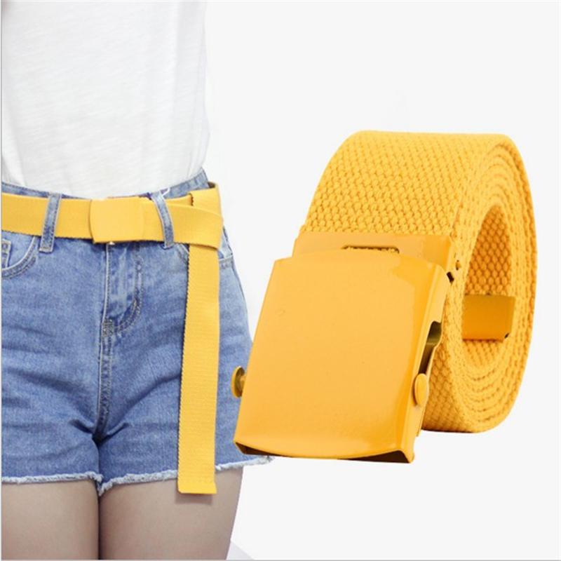 SupSindy Nylon Smooth Buckle Belt Top Quality Unisex Leisure Canvas Weaving Yellow Belt For Man And Women Hot Brand Belt 120cm