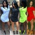 13 Colors XXXL Plus Size T Shirt Dress Women Summer 2016 Sexy Club Cotton Long Tops Tee Night club Party Dress White Black Green