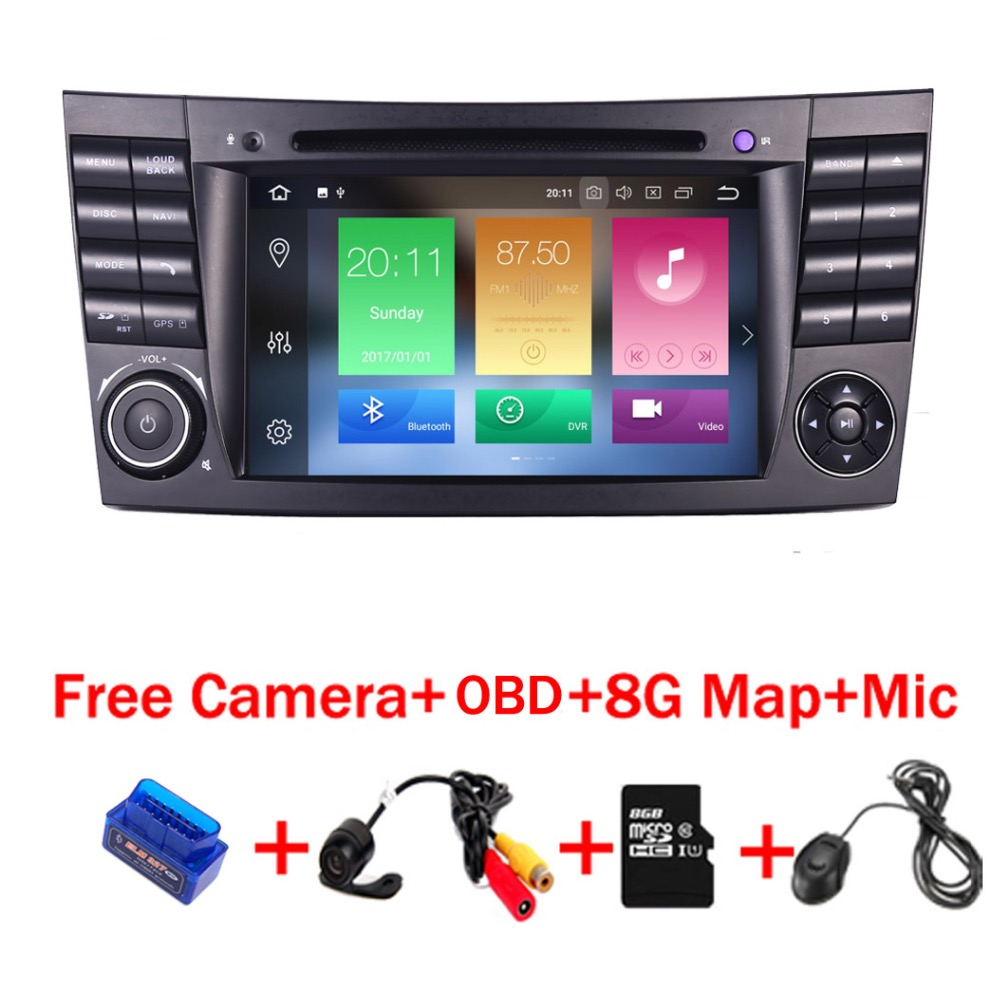 32 4G + G Android 9.0 rádio car multimedia player para Mercedes Benz-Classe E200 E220 E300 w211 E320 Wifi Radio DVD OBD Canbus Mapa
