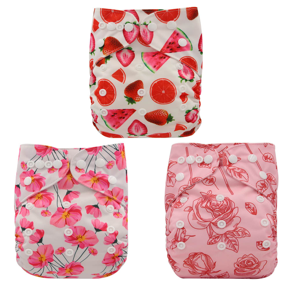 Ohbabyka Cloth Diaper Cover 3 Pack Adjustable Pocket Suede Cloth Diapers For Baby Waterproof Unisex Cloth Diapers Fits 3-15KG