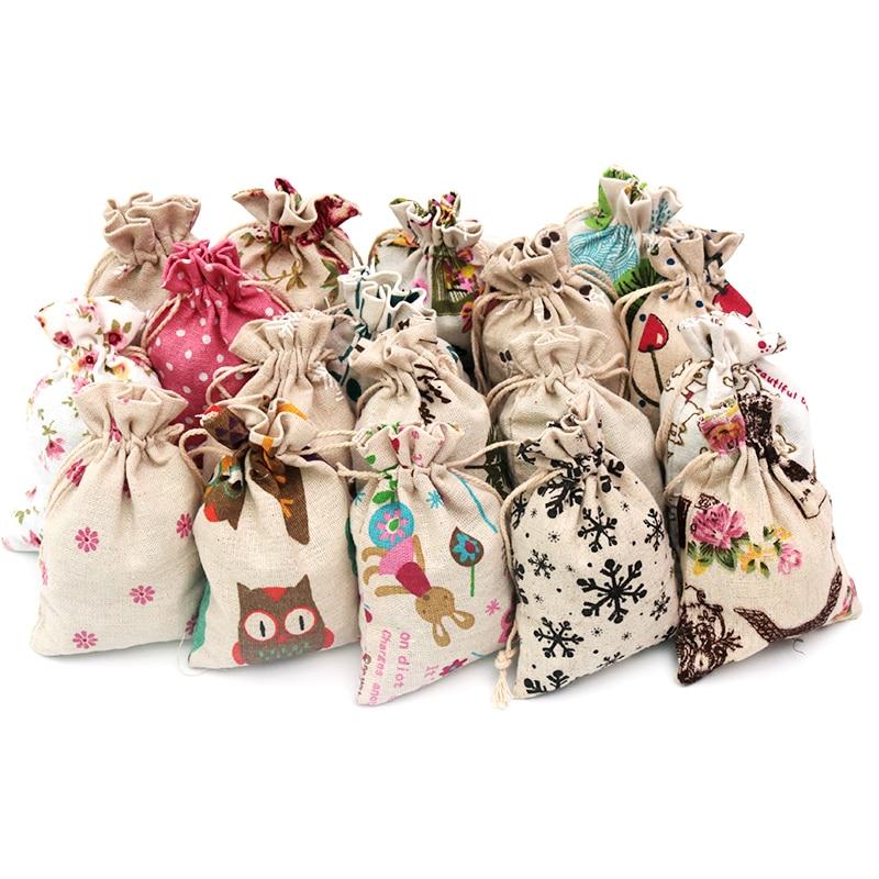 50pcs 10*14cm Women Reusable Shopping Bag Unisex Foldable Cotton Fabric Grocery Bags Drawstring Storage Bag Gift Bag For Girls