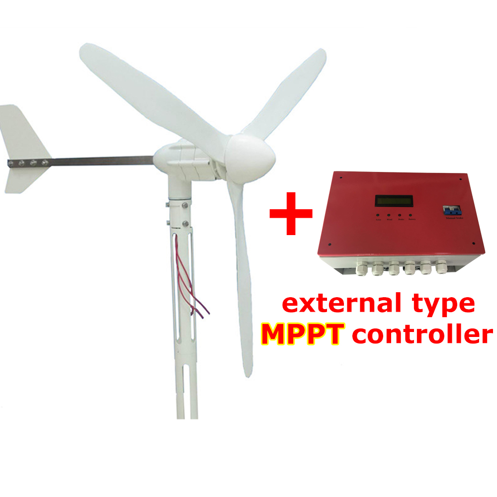 S-1000 3 blades wind energy turbine generator windmill 24V 48V 1000W with MPPT controller 2 5m s start up wind speed three phase 3 blades 1000w 48v wind turbine generator with 1000w 48v waterproor wind controller
