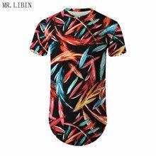 цена на Men Fashion Leaf Print T Shirt Summer Men Casual Hip Hop T-shirt Irregular Curved Hem Short Sleeved Streetwear T-shirts