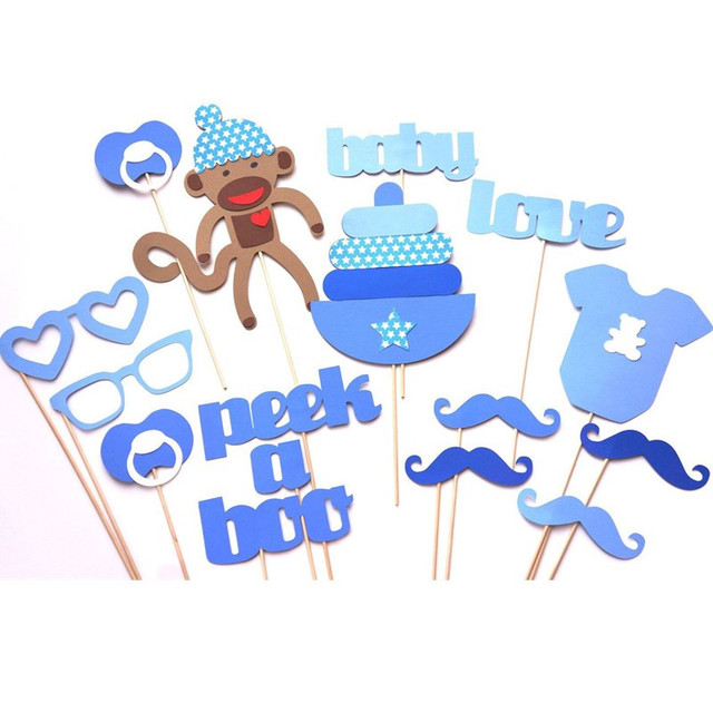 16Pcs Cute Monkey Baby Shower Birthday Party Photo Booth Props Moustache  Glasses Nipple Decoration For Kids