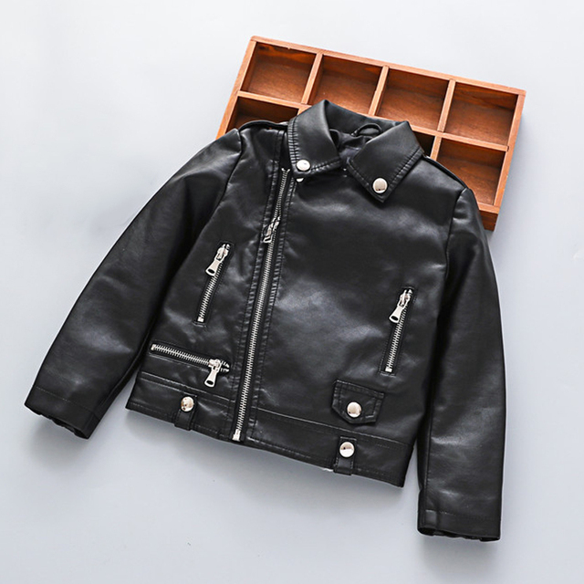 47b1d509dfa Girls Black Leather Jackets Kids Motorcycle Jacket Boys PU Leather Coat  Fashion Outerwear Clothes