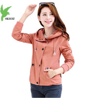 New Spring Autumn Women Pure Cotton Short Jacket Korean Fashion Solid Color Hooded Plus Size Casual